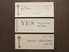 seriously awesome work... an RSVP that is a perforated card. you just tear and send the one back that suits you.