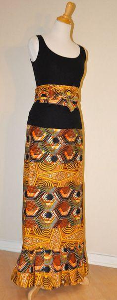 Orange & Yellow Mixed Print African Wrap Skirt/ Lapa by ayadonna, ~Latest African Fashion, African Prints, African fashion styles, African clothing, Nigerian style, Ghanaian fashion, African women dresses, African Bags, African shoes, Nigerian fashion, Ankara, Kitenge, Aso okè, Kenté, brocade. ~DKK