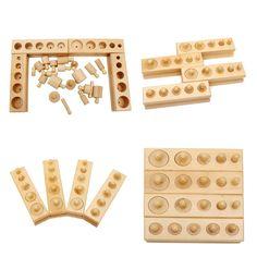 Knobbed Wooden Cylinder Blocks Family Set