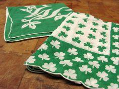 "Two Bright Green Hankies, Shamrocks, Monogram ""W"". $8.00, via Etsy."