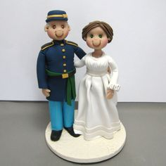 Reserved for Kristy  balance due for a Civil War era wedding cake topper by clayinaround on Etsy