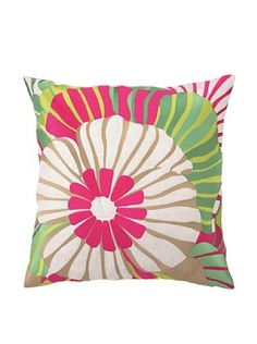 61% OFF Trina Turk Sea Floral Embroidered Pillow (Red)