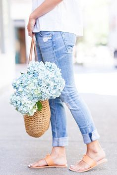 Overdress to Impress Flat Sandals Outfit, Slide Sandals, Denim Flats,  Cuffed Jeans, 2910dce9045f