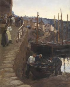 'THE SLIPWAY, NEWLYN' (1900) by Stanhope Alexander Forbes. ✫ღ⊰n