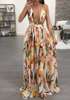 Women Dresses Summer Sexy Maxi Boho Style Print Party Dress Deep V Neck Backless Long Dress Vestidos Trend Fashion, Look Fashion, Fashion Outfits, Womens Fashion, Ladies Fashion, Fashion Clothes, Fashion Ideas, Feminine Fashion, Girl Fashion