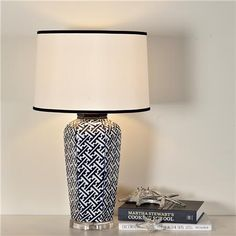 Navy and white chippendale table lamp
