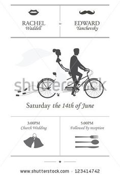 Vintage Minimalistic Wedding Invitation With Bride And Groom Riding Tandem  Bicycle Dragging Cans By Ivan Baranov