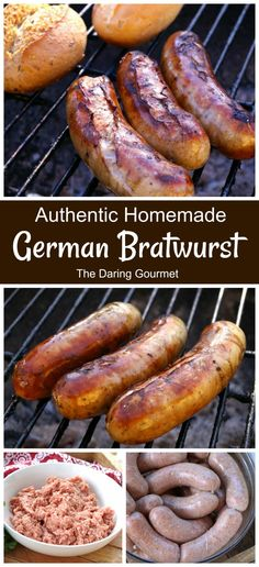 Authentic Homemade German Bratwurst Experience the delicious taste of Germany through this authentic homemade bratwurst recipe! Make a double batch, freeze them, and you can conveniently grab and grill a bratwurst any time the craving hits you! German Bratwurst, Bratwurst Sausage, Bratwurst Recipes, German Sausage, Sausages, Grilled Bratwurst, Sausage Stuffing, Grilling Recipes, Pork Recipes