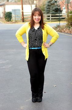 Yellow cardigan and black polka-dotted blouse. Allie at Wardrobe Oxygen.