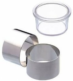 Set of Two Stainless Steel Cooking Rings with Pusher by Kitchen Craft. $14.99. Master Class stainless steel deep cooking rings. Ideal for preparing, cooking and serving hot and cold, sweet, or savoury food, such as individual cheesecakes, patés, mousse and rosti. Often used by chefs to present timbales (towers of food layered on a plate).  Size: 8cm x 5cm. Rings are dishwasher safe.