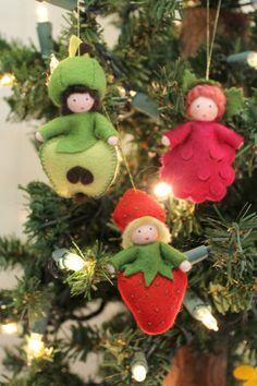 Felt fruit fairies ornaments