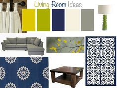 navy gray and yellow living room - Google Search: