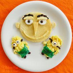 A Despicable Breakfast!  Pancake Mix   1 Marshmallow  2 Mini Marshmallows  Raisins  Eggs (scrambled)  1 Blue Fruit Roll Up