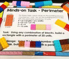 Building Block Math - Exploring Perimeter and Area through Hands-On Fun Teaching Measurement, Teaching Fractions, Teaching Math, Teaching Ideas, Perimeter Games, Area And Perimeter Worksheets, Fourth Grade Math, Second Grade Math, Third Grade