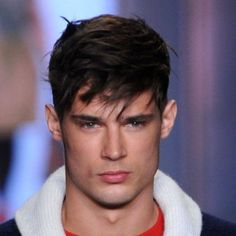 Sexy hairstyle for men with uneven bangs