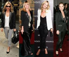 Kate Moss: I Love My... Tuxedo Jacket If you want a lesson in how to get the most out of your tuxedo jacket, just look at Kate Moss. She's worn the tailored topper with almost everything, from leather dresses to striped pants to shorts.