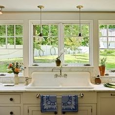 Using an old world sink in an upcycled kitchen ties in very well, but try using a modern faucet or an old world faucet revamped by modern amenities. The old world faucets are not very user friendly.
