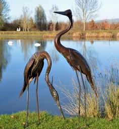 Metal Heron - A refined sculpture that will guard any pond. The graceful 'S' shaped neck gives a sense of movement and elegance.