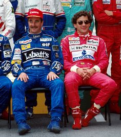 "Mansell-Senna, 1992. Both with smiling yet ""I'm a naughty boy"" faces"
