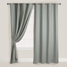 Slate Gray Parker Grommet Top Curtain | World Market