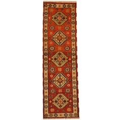 Herat Oriental Indo Hand-knotted Tribal Kazak Rust/ Ivory Wool Runner (2'2 x 6'9) - 18900210 - Overstock.com Shopping - Big Discounts on Herat Oriental One of a Kind