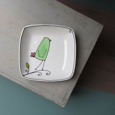 Ceramic mint green and white bird square dish / by catherinereece, $18.00