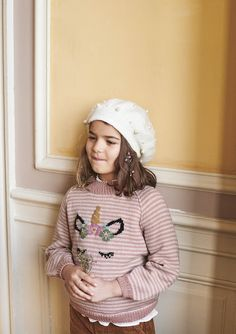 Miss unicorn sweater Unicorn Knitting Pattern, Kids Knitting Patterns, Kids Patterns, Pretty Patterns, Knitting For Kids, Knitting Projects, Rainbow Sweater, Yarn Shop, Knitted Hats