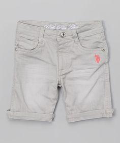 Silver Gray Bermuda Shorts - Girls