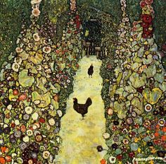 Garden with Roosters Artwork by Gustav Klimt Hand-painted and Art Prints on canvas for sale,you can custom the size and frame