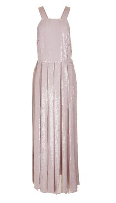 Tonal sequins are a key trend for Spring 2016. This stunning dress combines the adorned beading with a relaxed pleated silhouette for an ethereal look. Button closures on back straps. Fully lined.    Rose Quartz styled with Eliza Sandals. Black styled with Chloe Sandals.  100% Silk. Spot Clean Only.  Style Number: TS116ESB14248  Available in: Rose Quartz, Black