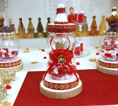 RED & GOLD Baby Shower Centerpiece For by PlatinumDiaperCakes