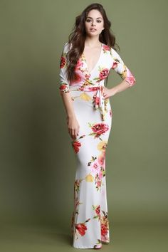 This maxi dress features a blossoming floral printed design, a stretchy fabrication, surplice neckline, three-quarter length sleeves, high waisted panel with a Floaty Dress, Dress Skirt, Beautiful Long Dresses, The Brunette, Beautiful Girl Image, Girls Dresses, Maxi Dresses, Fashion Dresses, Women's Fashion
