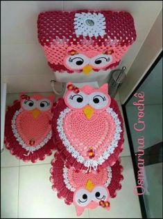 Bath Crochet Patterns Part 10 - Beautiful Crochet Patterns And Knitting Patterns - Diy Crafts - DIY & Crafts Owl Crochet Patterns, Crochet Owls, Owl Patterns, Crochet Doilies, Crochet Yarn, Free Crochet, Knitting Patterns, Crochet Kitchen, Crochet Home
