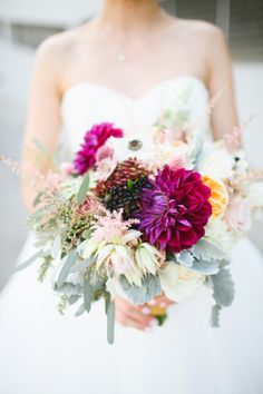 Pops of berry hues: http://www.stylemepretty.com/california-weddings/long-beach-ca/2015/03/24/whimsical-fall-wedding-at-the-loft-on-pine/ | Photography: Adrienne Gunde - http://www.adriennegunde.com/