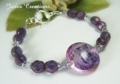 Lampwork and Purple Luster Fire Polished Beaded Bracelet #618