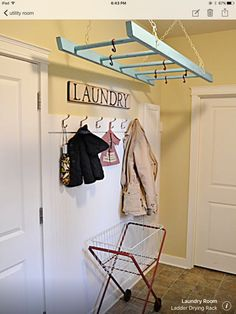 Utility room - good hanging / storage with hanging ladder.