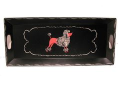 This is a vintage metal hostess serving tray from the featuring a cute salmon pink poodle. Perfect Christmas gift for your favorite rockabilly doll. Painted Trays, Painted Metal, Hand Painted, Christmas Gift For You, Perfect Christmas Gifts, Poodles, Pink Poodle, Thing 1, Tv Trays