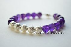 Amethyst Bracelet - Handmade Jewelry - Gifts for Her Purple and Silver