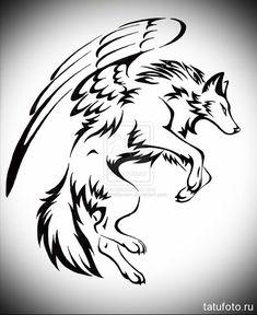 эскиз-тату-волк-с-крыльями-в-прыжке.jpg (500×612)