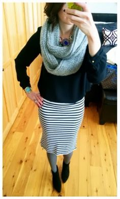 Fun business casual work outfit - striped skirt, colored tights, ankle boots and infinity scarf.
