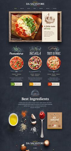 Another organic food visual style and website design concept for Italian Pizzeria by Mike Creative Mints on dribbble. Design Sites, Food Web Design, Site Web Design, Creative Web Design, App Design, Creative Ideas, Website Design Inspiration, Balkan Food, Menue Design