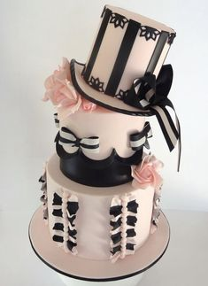 Love this! Pink & black lace top hat cake