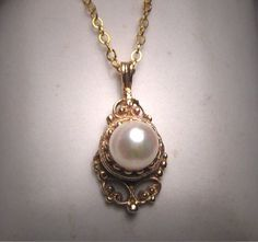 Antique Pearl Pendant Necklace Victorian Etruscan Gold