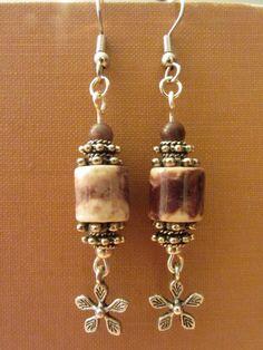 Porcelain & Silver Dangle Earrings
