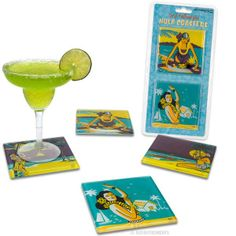 Hula Girl Glass Coaster Set by Accoutrements