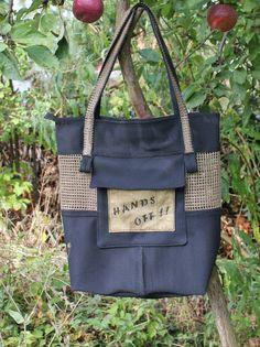 Shopper Tote Bag Tasche : HANDS OFF  von rundlingswerkstatt auf Etsy