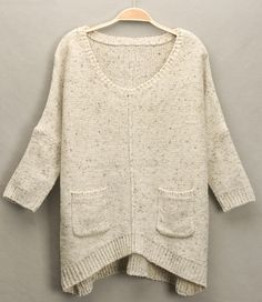 Beige V Neck Batwing Sleeve Pockets Loose Sweater