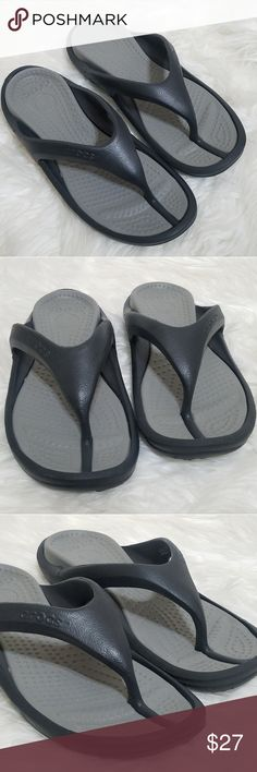 d1ad09465f7e CROCS Gray abd Black Rubber Flip Flops 10 12 Like new unisex CROCS rubber flip  flops. Colors  gray and black Men size  10 Women s size  12 Slippers are in  ...