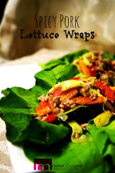 Spicy Pork Lettuce Wraps Recipe by @MommaCuisine. #lettucewraps #recipe #cookinglight www.mommacuisine.com