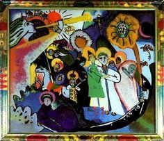 "All Saints l, 1911-Wassily Kandinsky Glass painting (Pintura de vidrio) 13.6 × 15.9"" (34.5 × 40.5 cm) Munich, Germany. The Städtische Galerie im Lenbachhaus #kandinsky #kandinski #abstractart #Abstract #abstractpainting #abstractartist #russianart #painting #glass #glasspainting #pinturadevidrio #wassilykandinsky"